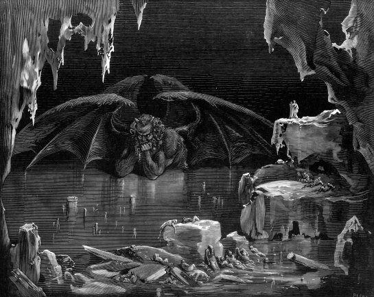 the physical description of satan in dantes inferno Dante's inferno quizlet (cantos i-xv) what is one of the central characteristics of dante's style that is conveyed in the phrase satan himself stands fixed.